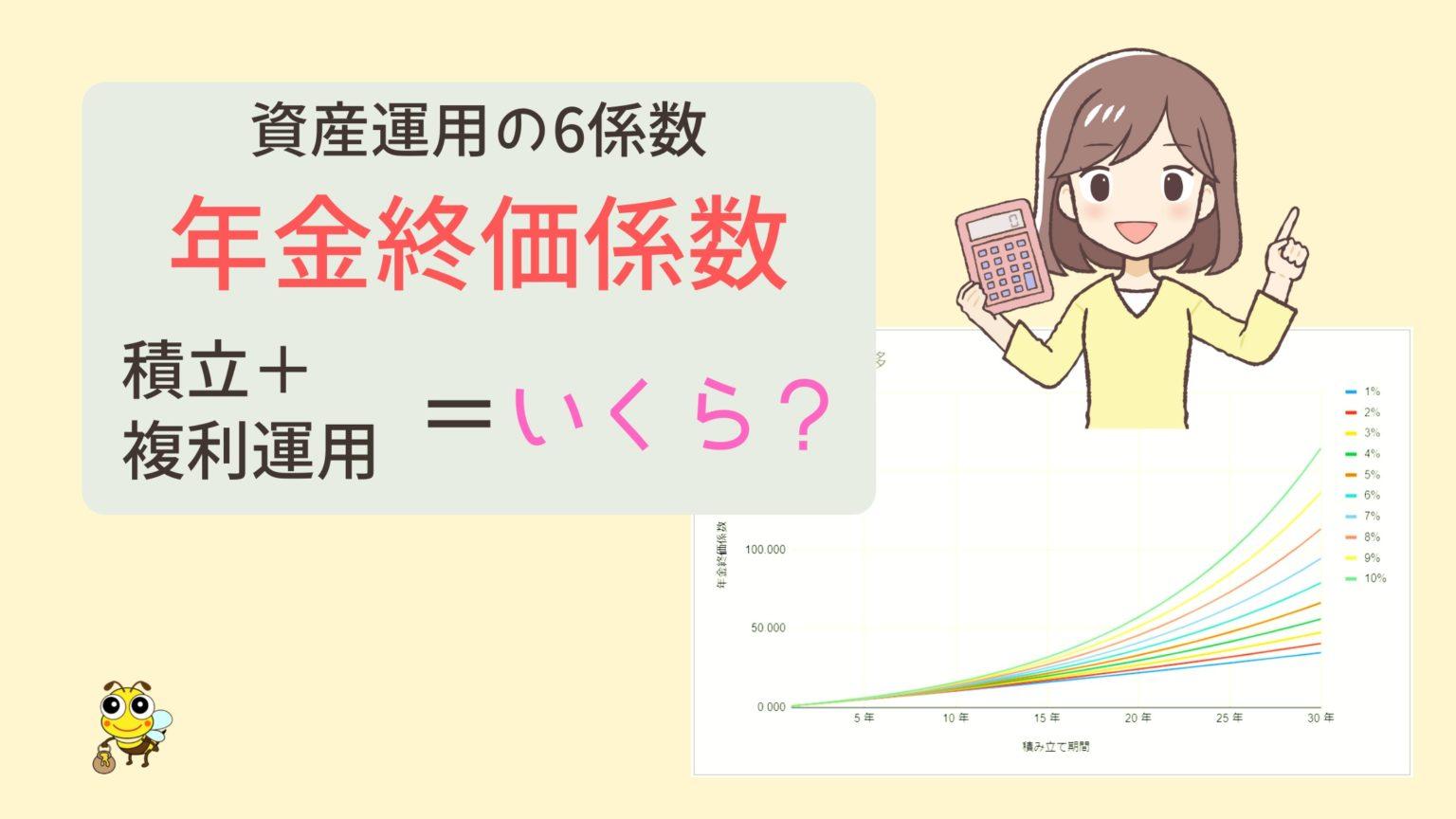 年金終価係数,年金終価係数とは,早見表,将来の金額,計算,計算式,グラフ,推移,電卓, 複利,複利計算, ライフプラン, 元利合計, 積立, 積み立て,積み立て貯蓄, 積み立て投資, じぶん年金, 自分年金, 資産運用, ファイナンシャルプランナー, FP, FP2級, FP3級